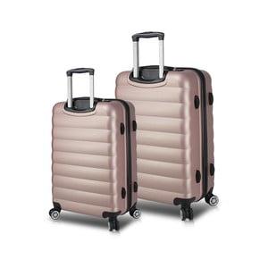Sada 2 růžových cestovních kufrů na kolečkách s USB porty My Valice RESSNO Cabin & Medium