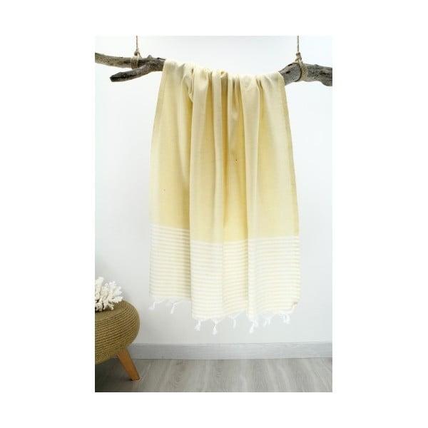 Žluto-bílá osuška s pruhy Hammam Marine Style, 100  x  170 cm