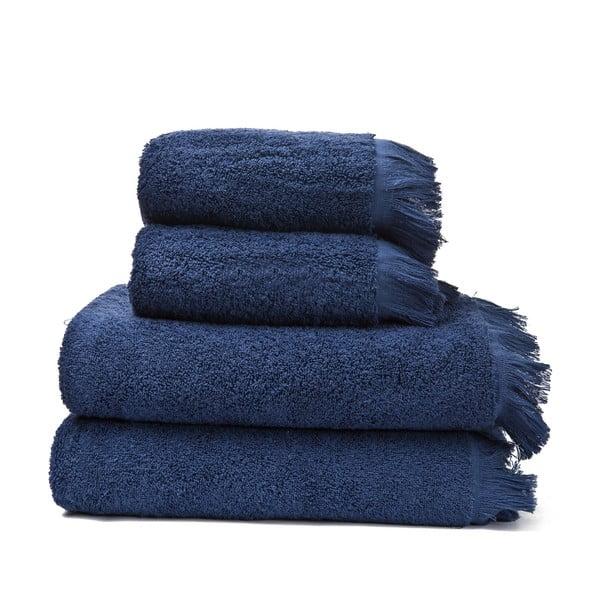 Set 2 modrých bavlněných ručníků a 2 osušek Casa Di Bassi Bath