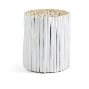 Bílý taburet z teakového dřeva La Forma Filippo, ⌀35cm