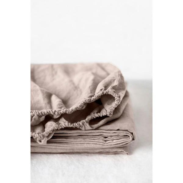Světle hnědé lněné elastické prostěradlo Linen Tales, 180 x 200 cm