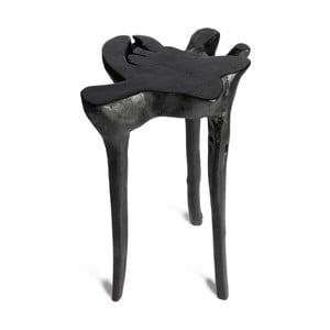 Černý příruční stolek z teakového dřeva Simla Jungle,⌀30cm