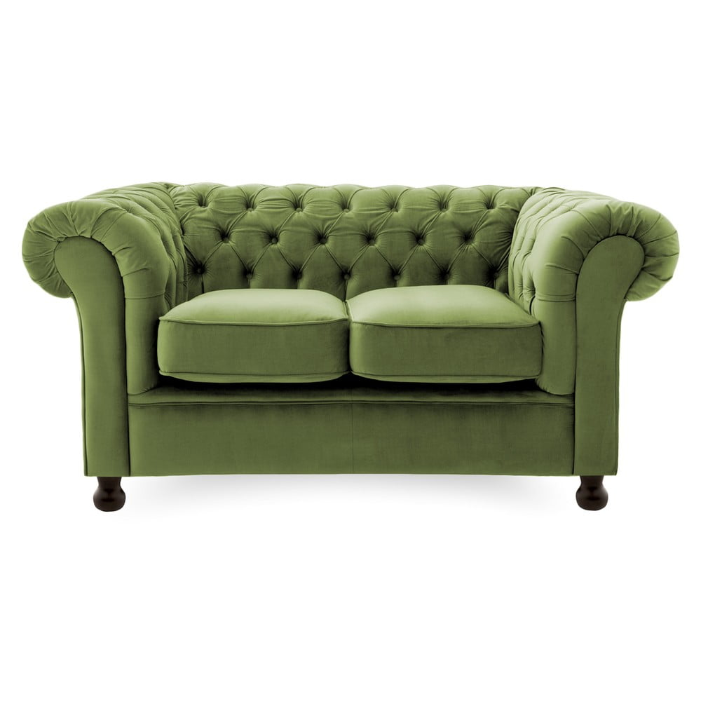 Olivově zelená pohovka pro dva Vivonita Chesterfield Vivonita 4251194913423
