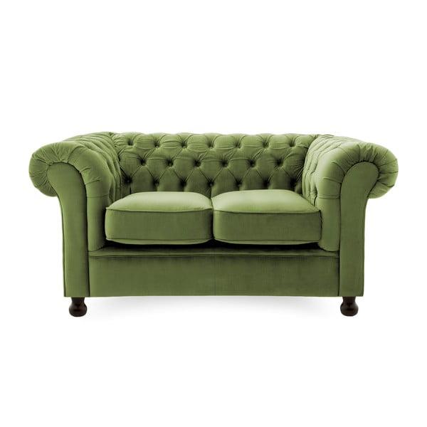 Oliwkowa sofa dwuosobowa Vivonita Chesterfield
