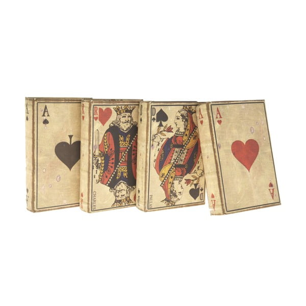 Sada 4 dřevěných krabiček Antic Line Cards