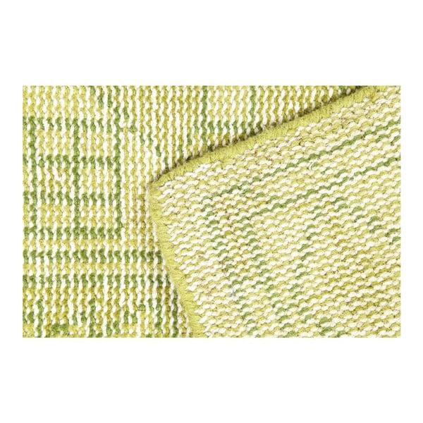 Limetkový ručně vázaný vlněný koberec Sentimental,140x200cm