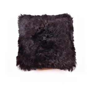 Pernă complet din blană cu fir lung Blacky, 45x45 cm