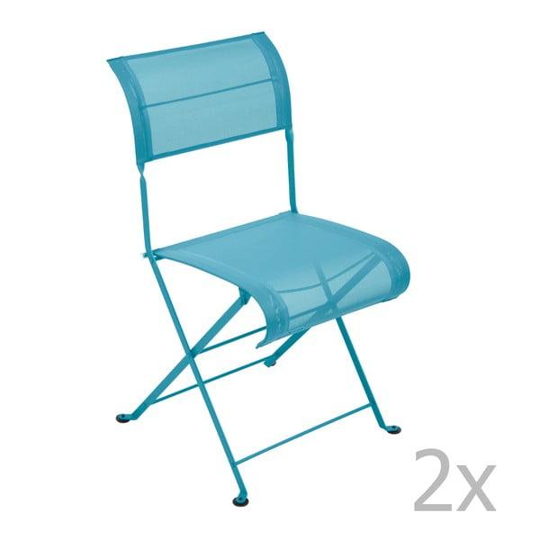 Sada 2 tyrkysových skládacích židlí Fermob Dune