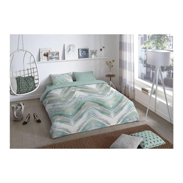 Zelené povlečení na jednolůžko z bavlny Good Morning Chevron, 140 x 200 cm