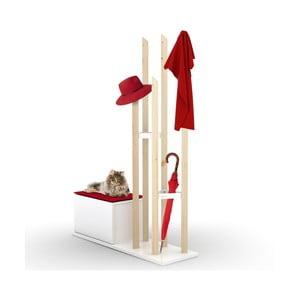 Set věšáku na kabáty a lavice s úložným prostorem s červeným detailem Rafevi Katana