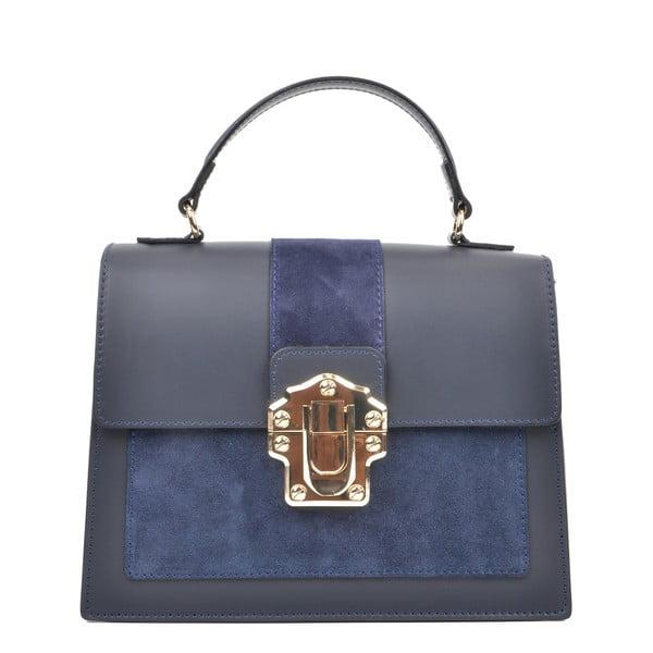 Tmavomodrá kožená kabelka Isabella Rhea, 22 x 27 cm