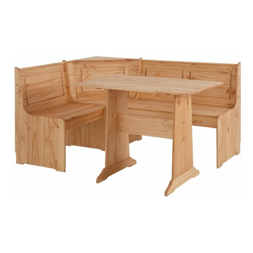 Set rohové lavice a jídelního stolu z masivního borovicového dřeva Støraa Samantha