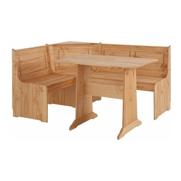 Komplet ławki narożnej i stołu z litego drewna sosnowego Støraa Samantha
