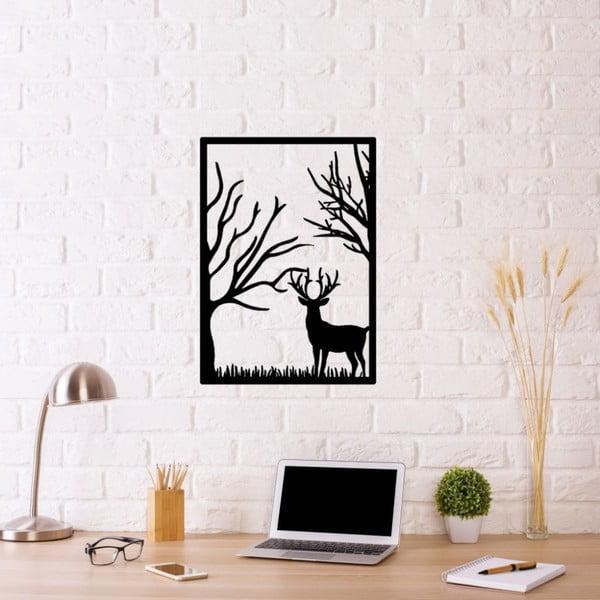 Černá kovová nástěnná dekorace Deer In The Forest, 39 x 54 cm