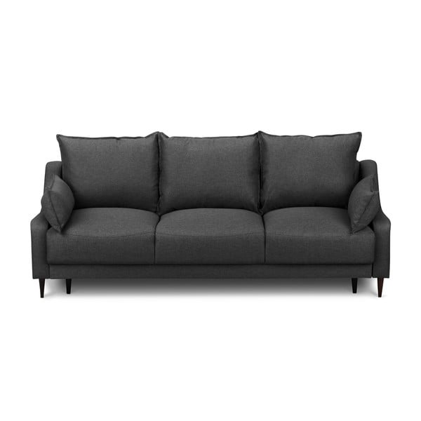 Tmavě šedá rozkládací třímístná pohovka súložným prostorem Mazzini Sofas Ancolie