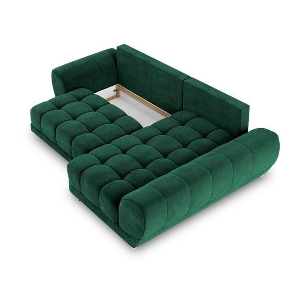 Canapea extensibilă cu înveliș de catifea Windsor & Co Sofas Nuage, pe partea dreaptă, verde