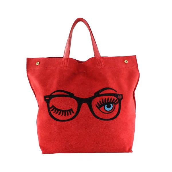 Kožená kabelka Wink, červená