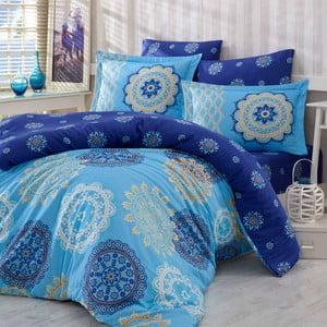 Bavlněné povlečení s prostěradlem a 2 povlaky na polštáře Ottoman Blue, 200x220cm