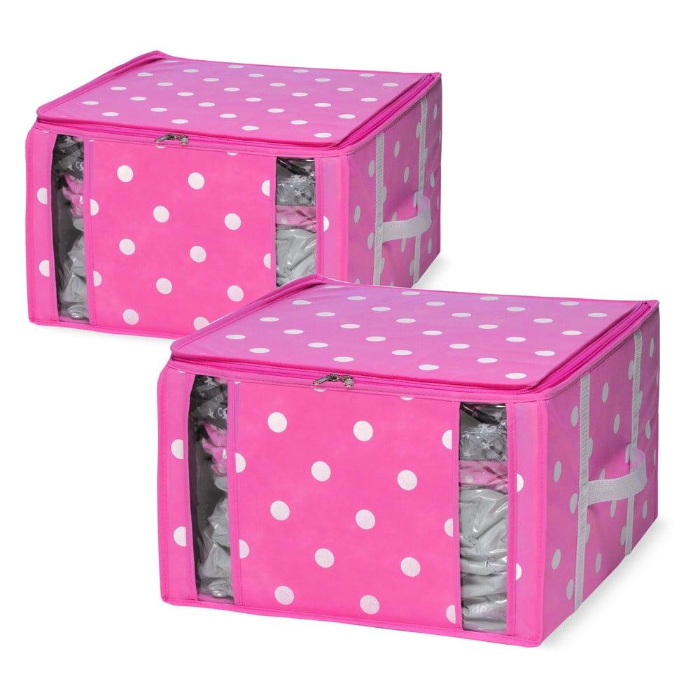 Sada 2 růžových úložných boxů s vakuovým obalem Compactor Girly Range, 40 x 42 cm