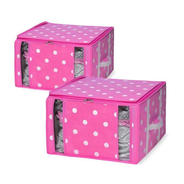 Zestaw 2 różowych organizerów z workiem próżniowym Compactor Girly Range, 40x42 cm
