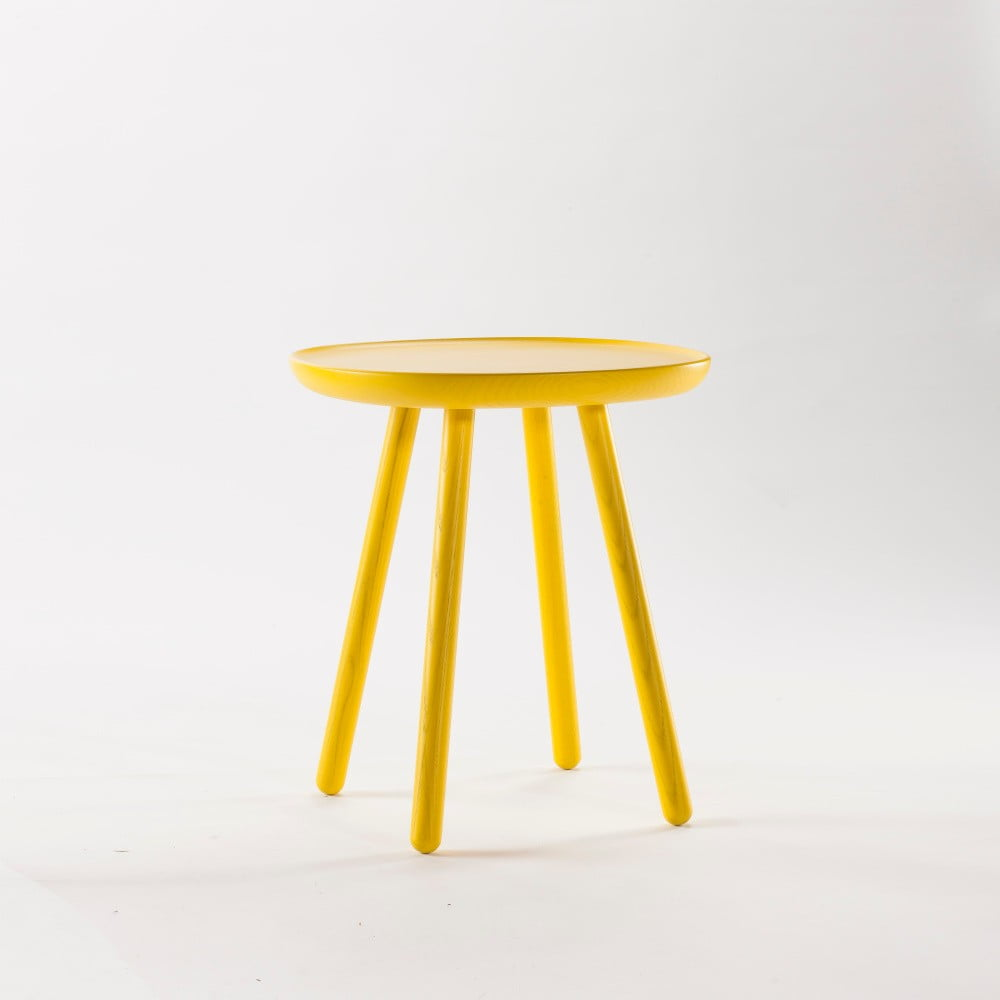 Žlutý odkládací stolek z masivu Emko Naïve Small