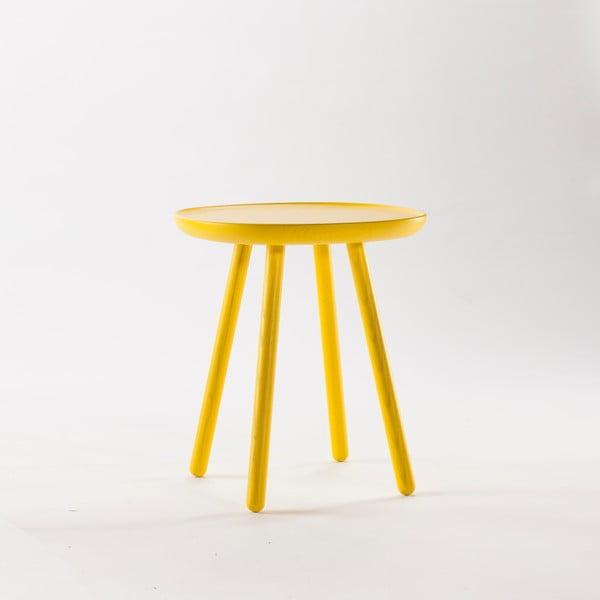 Žlutý odkládací stolek z masivu EMKO Naïve Small, ø45cm