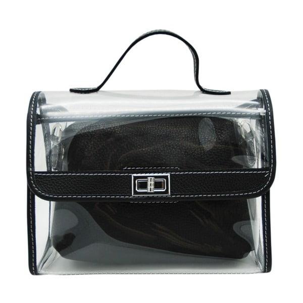 Černá kabelka z pravé kůže Andrea Cardone Transpa Mini