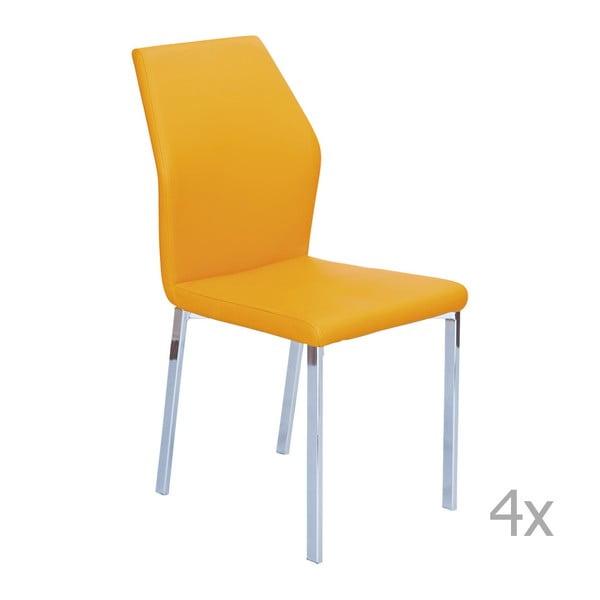Sada 4 oranžových jídelních židlí 13Casa Valencia