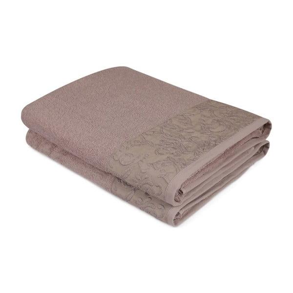 Komplet 2 brązowych bawełnianych ręczników Noktali Sal, 90x150 cm