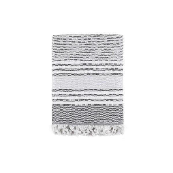 Szara bawełniana narzuta na łóżko Galina Grey White, 220x240 cm