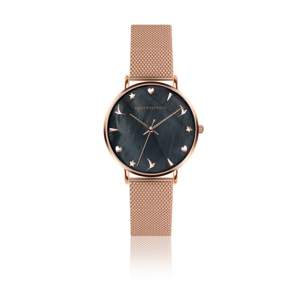 Ceas damă, curea metalică Emily Westwood Aura, auriu-roz