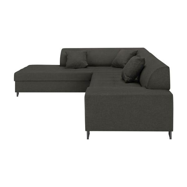 Tmavě šedá rohová rozkládací pohovka s nohami v černé barvě Cosmopolitan Design Orlando, levý roh