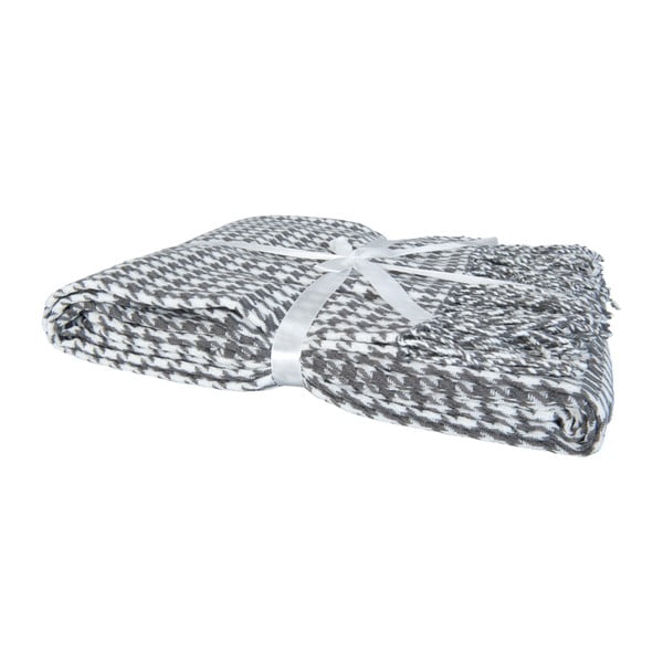Pléd Clayre 130x150 cm, šedo-bílý