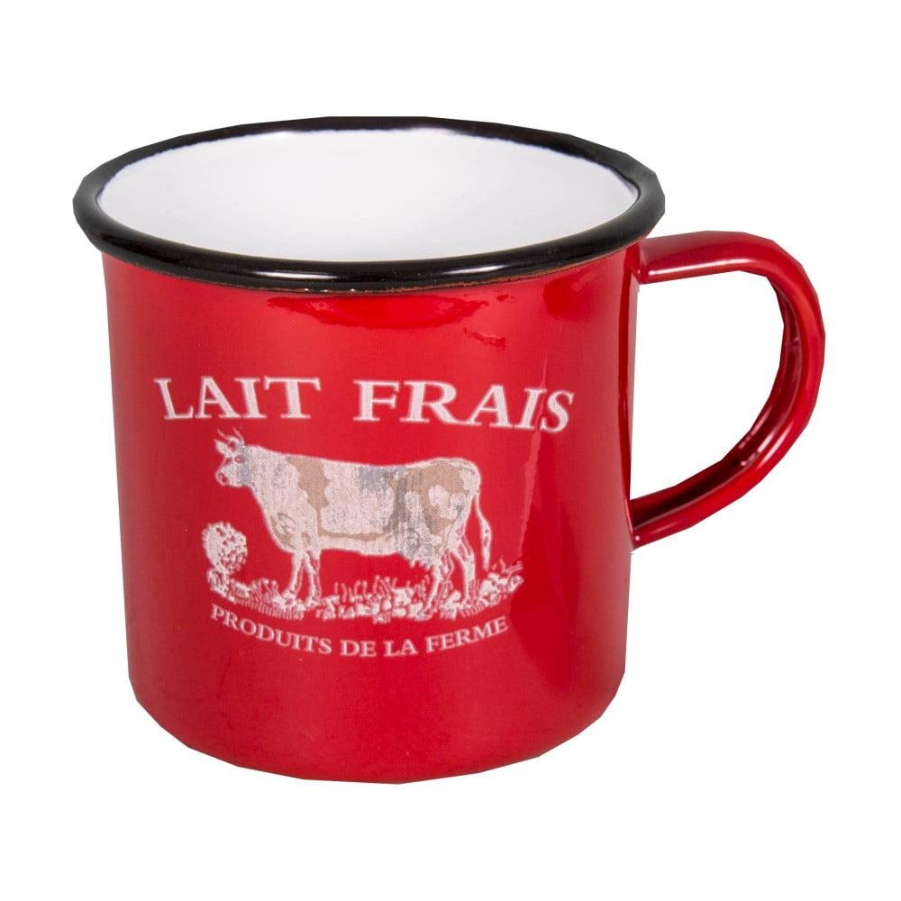 Červený smaltovaný hrnek Antic Line Lait Frais
