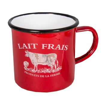 Cană smălţuită Antic Line Lait Frais, roşu