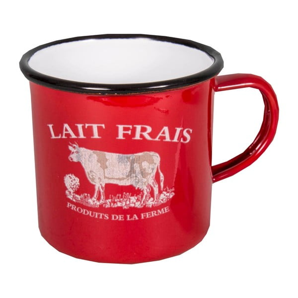 Czerwony kubek emaliowany Antic Line Lait Frais