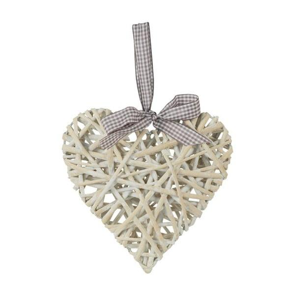 Proutěné srdce, bílé, 40 cm