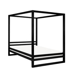 Černá dřevěná dvoulůžková postel Benlemi Baldee, 190x180cm