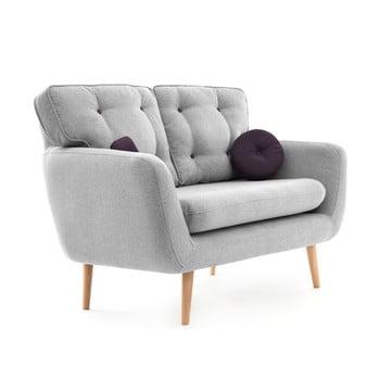 Canapea cu 2 locuri Vivonia Malva, gri – violet de la Vivonita