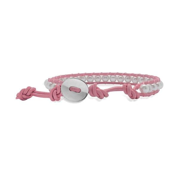 Světle růžový náramek z pravé kůže s perlami Lucie & Jade