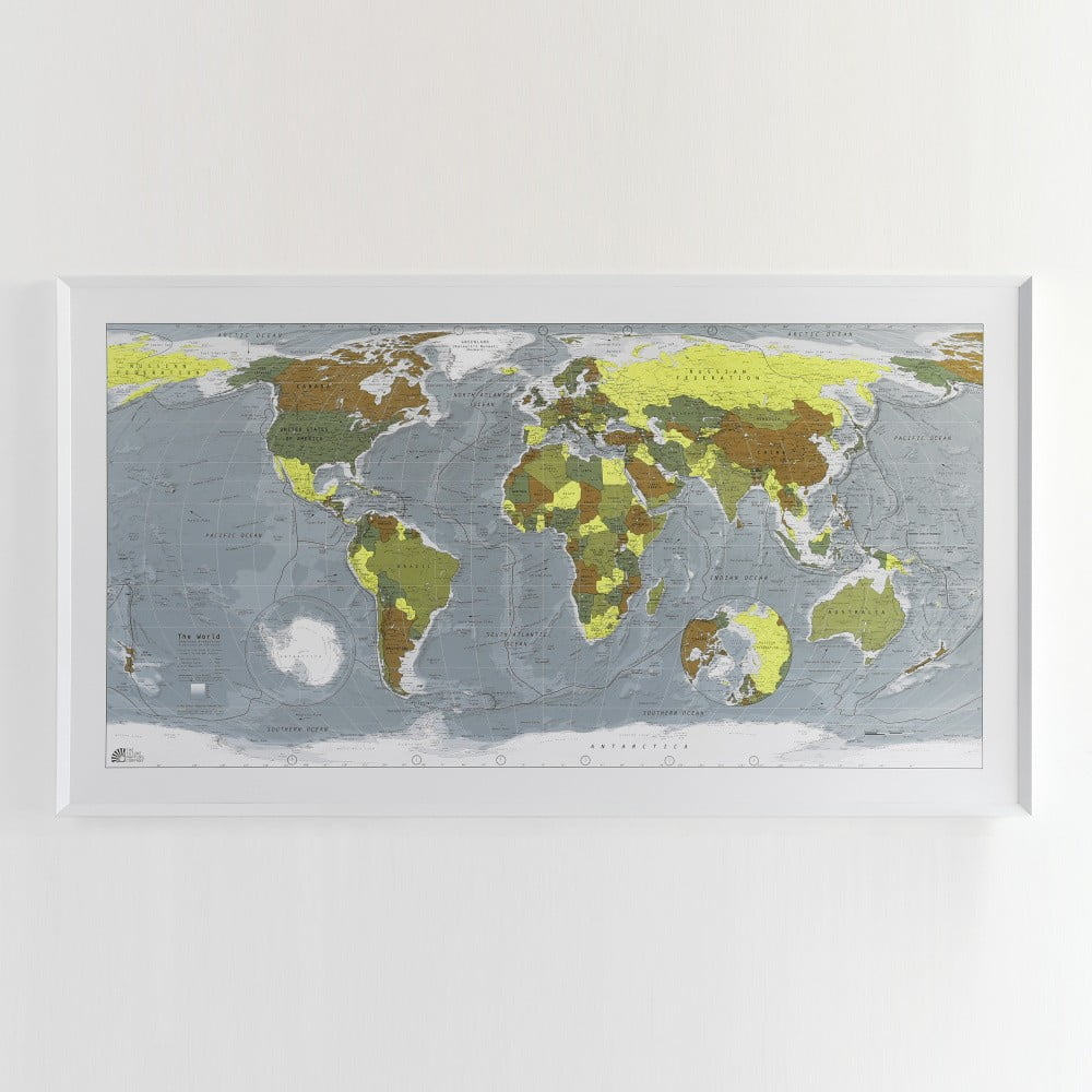 Zelená mapa světa v průhledném pouzdře Colour Map, 130x72cm