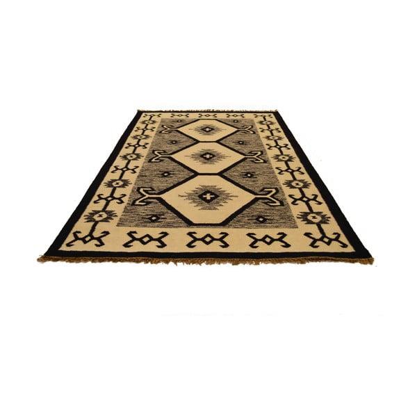 Ručně tkaný koberec Black and White Indian, 120x180 cm