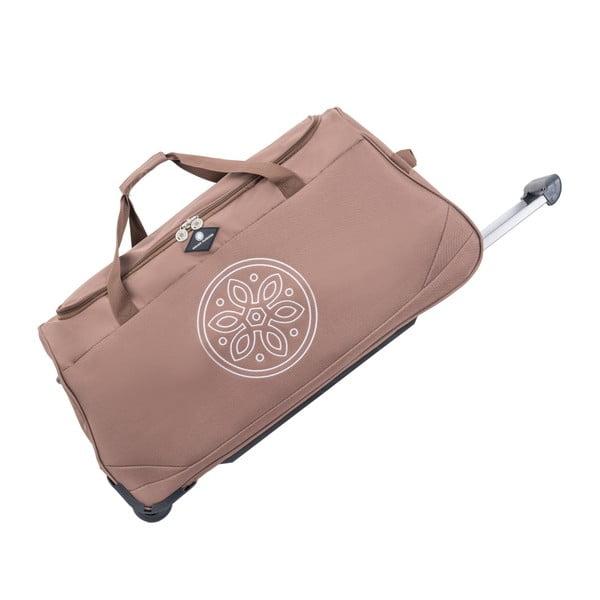 Tmavobéžová cestovná taška na kolieskach GERARD PASQUIER Miretto, 91 l
