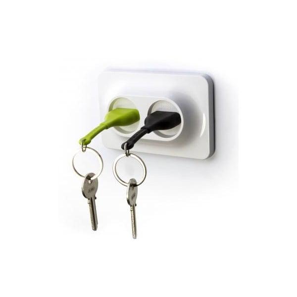 Věšáček na klíče se zelenou a černou klíčenkou Qualy&CO Double Unplug