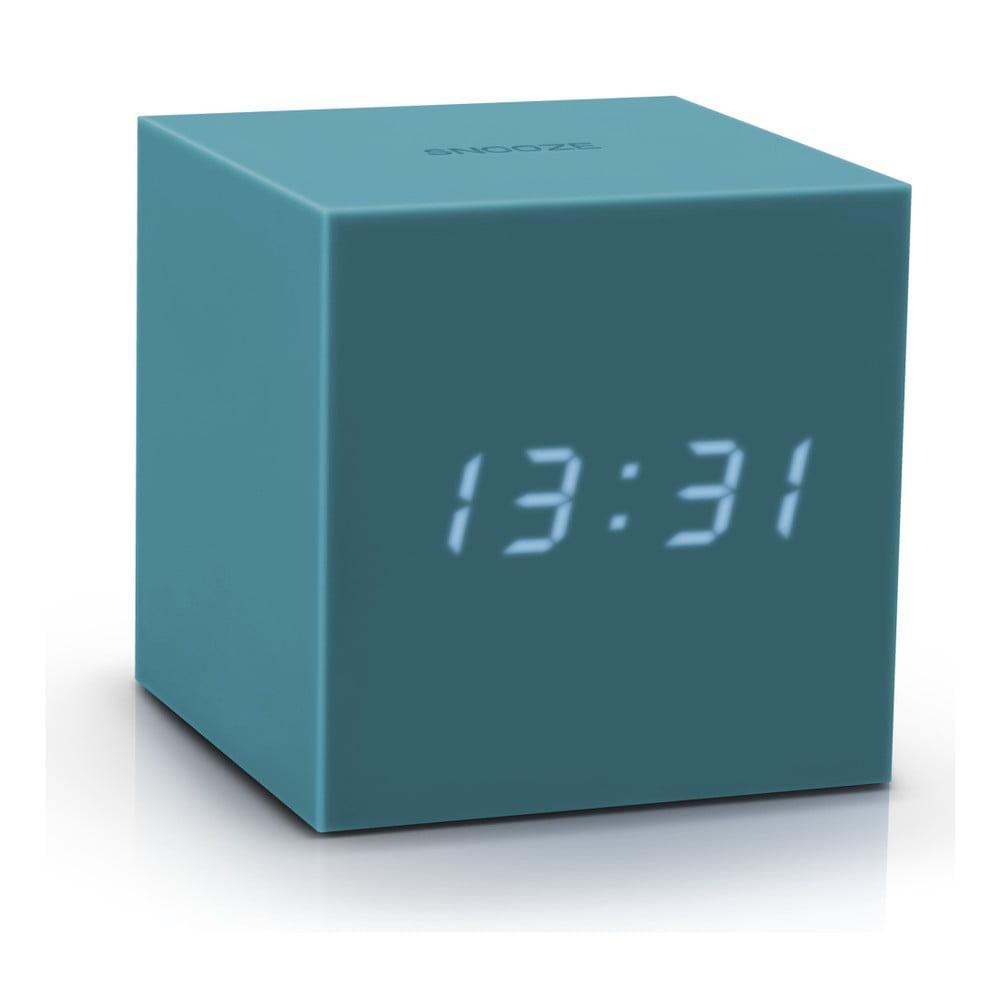 Šedomodrý LED budík Gingko Gravitry Cube