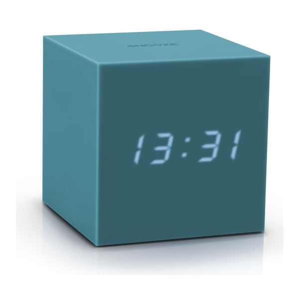 Sivomodrý LED budík Gingko Gravitry Cube