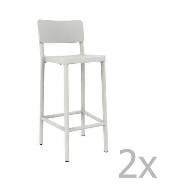Sada 2 bielych barových stoličiek vhodných do exteriéru Resol Lisboa, výška 102,2 cm