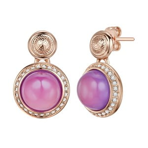 Náušnice v barvě růžového zlata s krystaly Swarovski Saint Francis Crystals Peony