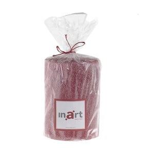 Červená svíčka s metalickým povrchem InArt, výška 10 cm