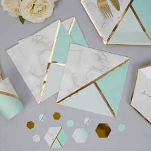 Sada 16 papírových ubrousků Neviti Mint Colour Block Marble
